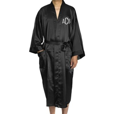 Monogrammed Men's Satin Robe