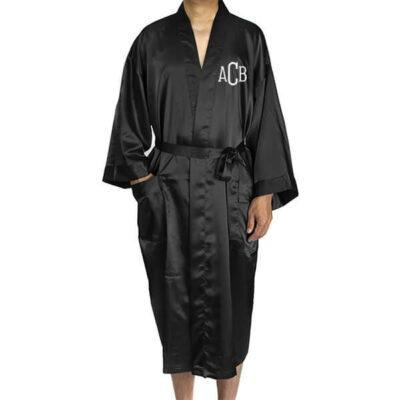 Monogrammed Men's Satin Robe
