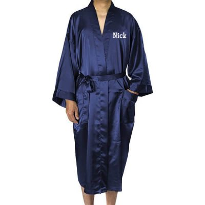 Embroidered Men's Satin Robe with Name