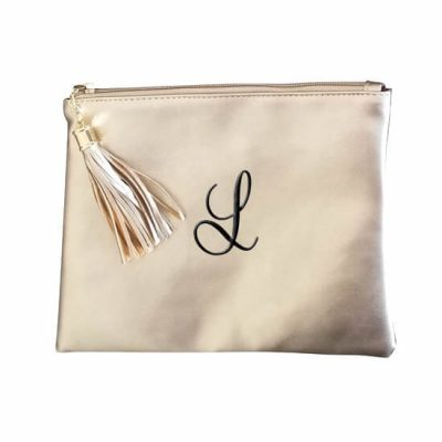 Metallic Zipper Pouch with Embroidered Initial
