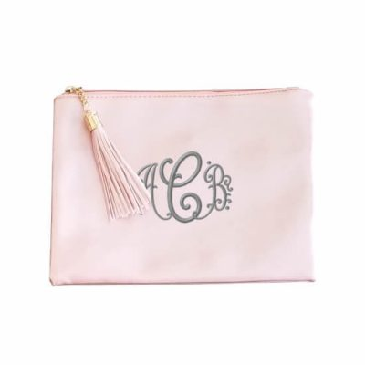 Monogrammed Metallic Zipper Pouch