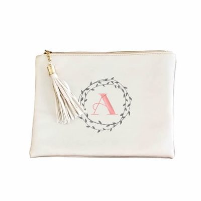 Metallic Zipper Pouch with Wreath Monogram