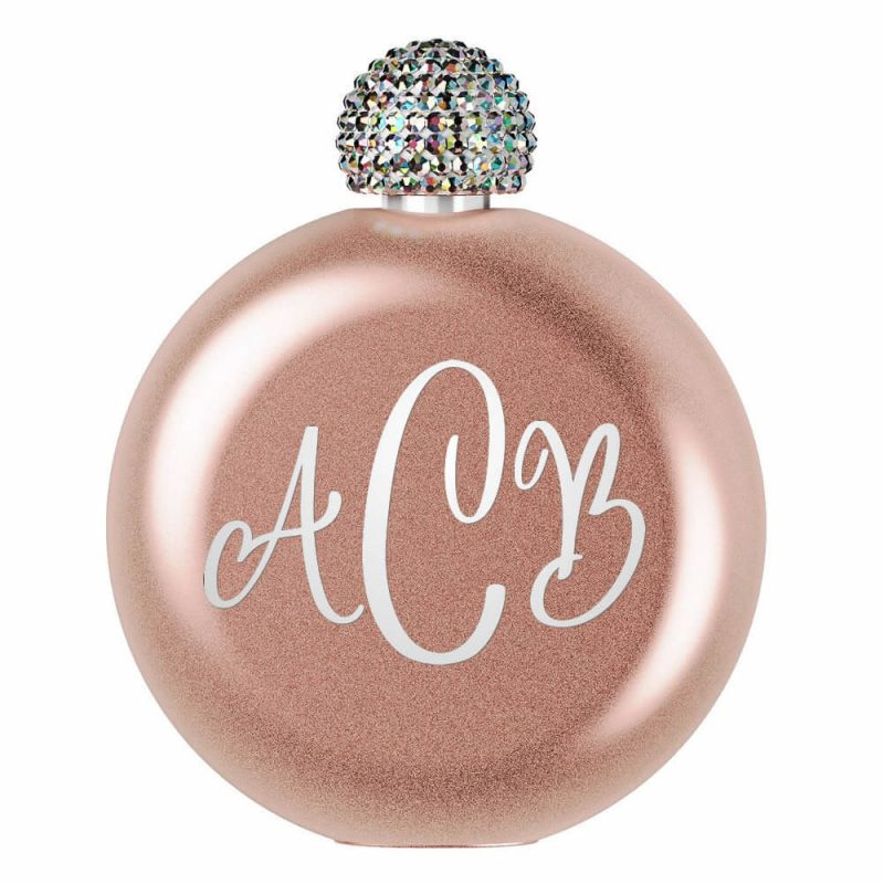 Monogrammed Glitter Flask