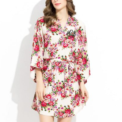 Monogrammed Floral Cotton Robe