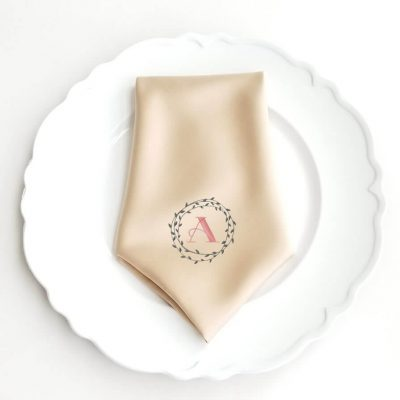 Monogrammed Wedding Napkin with Wreath