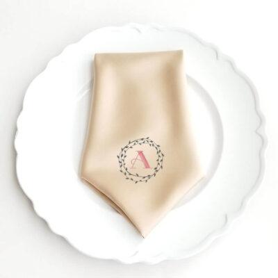 Monogrammed Wedding Napkin with Wreath