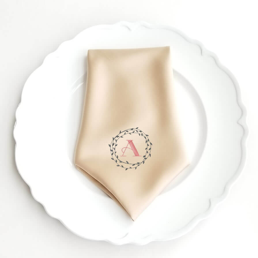 monogrammed wedding napkin with wreath personalized brides