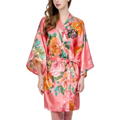 Monogrammed Watercolor Floral Satin Robe
