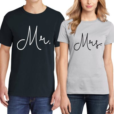 Custom Printed Mr. & Mrs. T-Shirt Set