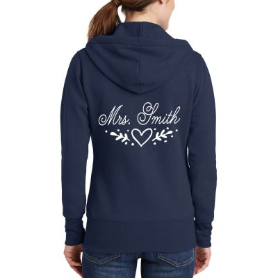 """Mrs."" Full-Zip Hoodie with Heart Laurel"