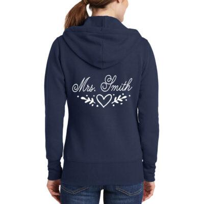 """""""Mrs."""" Full-Zip Hoodie with Heart Laurel"""