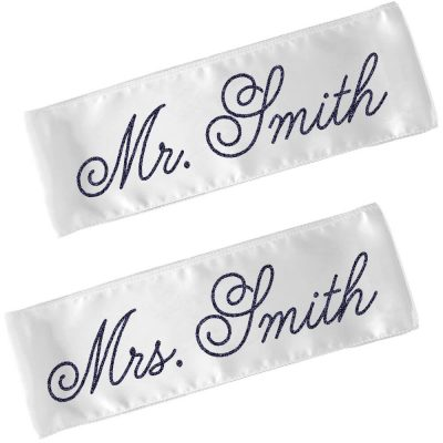 Mr. and Mrs. Bride and Groom Chair Sashes (Set)