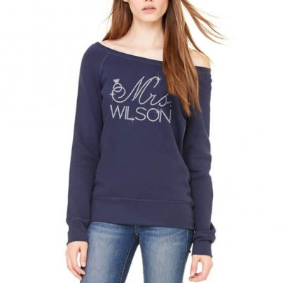 "Personalized ""Mrs."" Rhinestone Bride Wide Neck Sweatshirt with Ring"