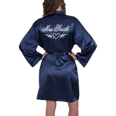 """Mrs."" Satin Robe with Heart Laurel"