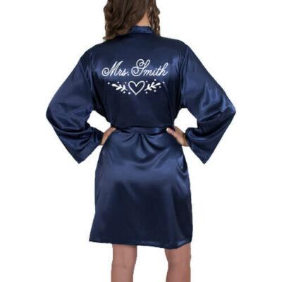 """Mrs."" Satin Robe with Heart Laurel"