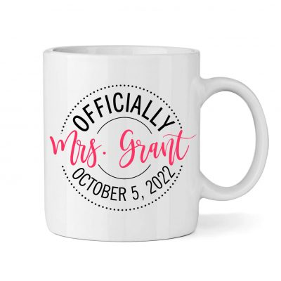 """Personalized """"Officially Mrs."""" Bride Mug"""