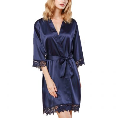 Navy Lace Satin Front