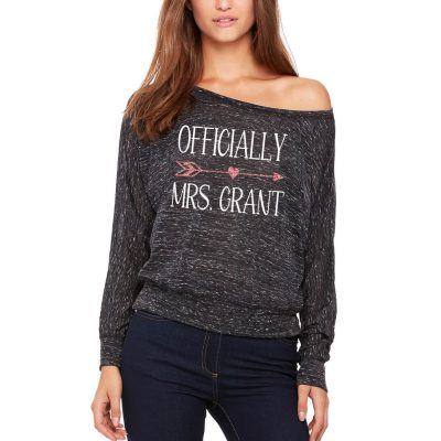 """Officially Mrs."" Wide Neck Shirt"