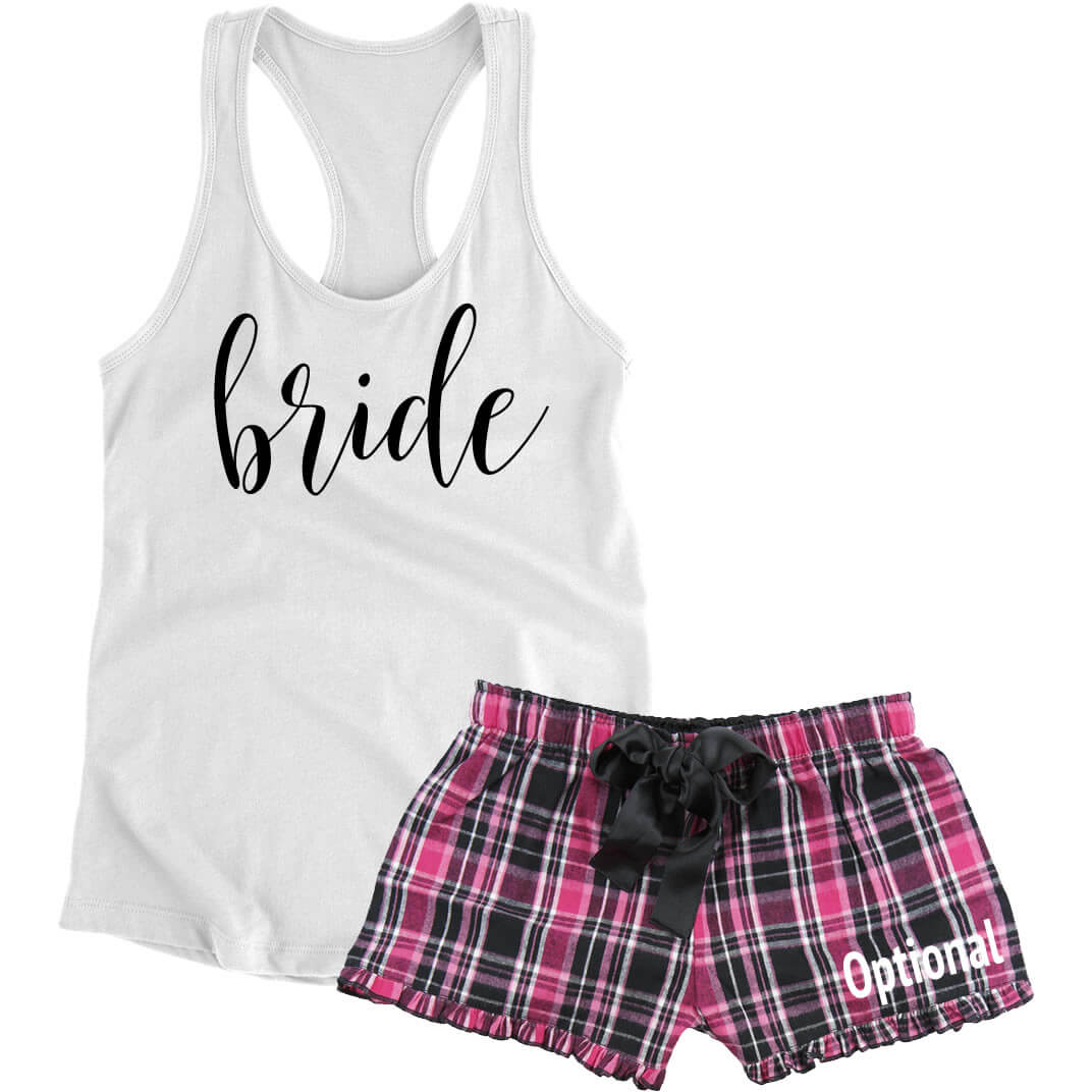 Bride Pajama Set With Optional Name Script