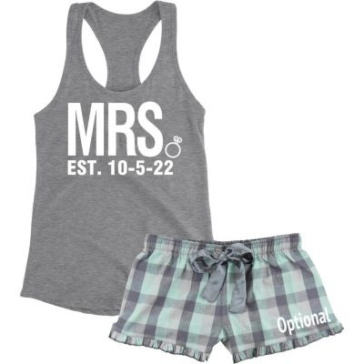"""Mrs."" Pajama Set with Optional Name - Block"