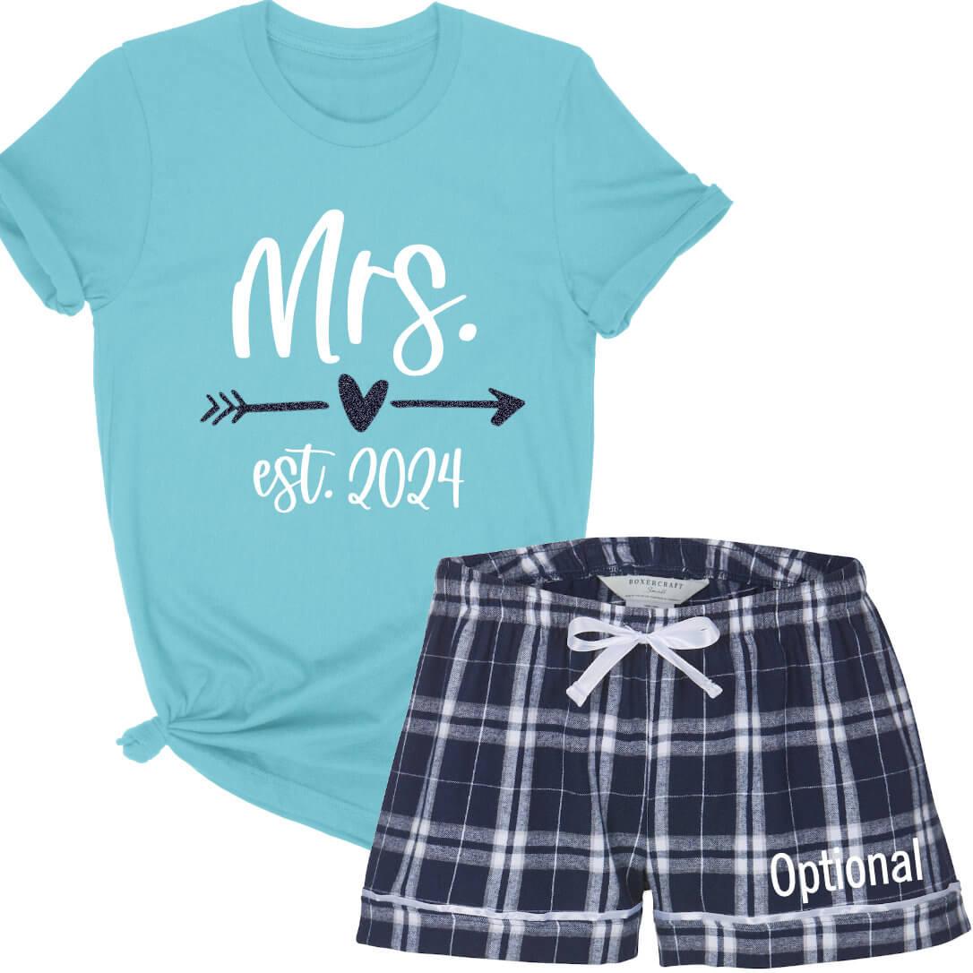 u0026quot mrs  u0026quot  pajama set with date  u0026 optional name