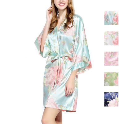 Pastel Floral Satin Wedding Robe - Blank