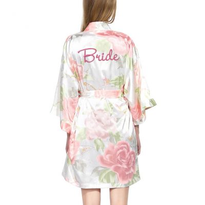 Pastel Floral Satin Bride Robe