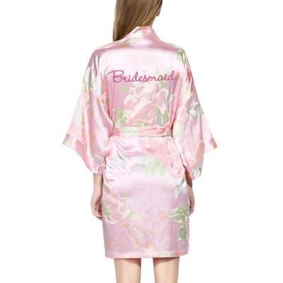 Pastel Floral Satin Bridesmaid Robe