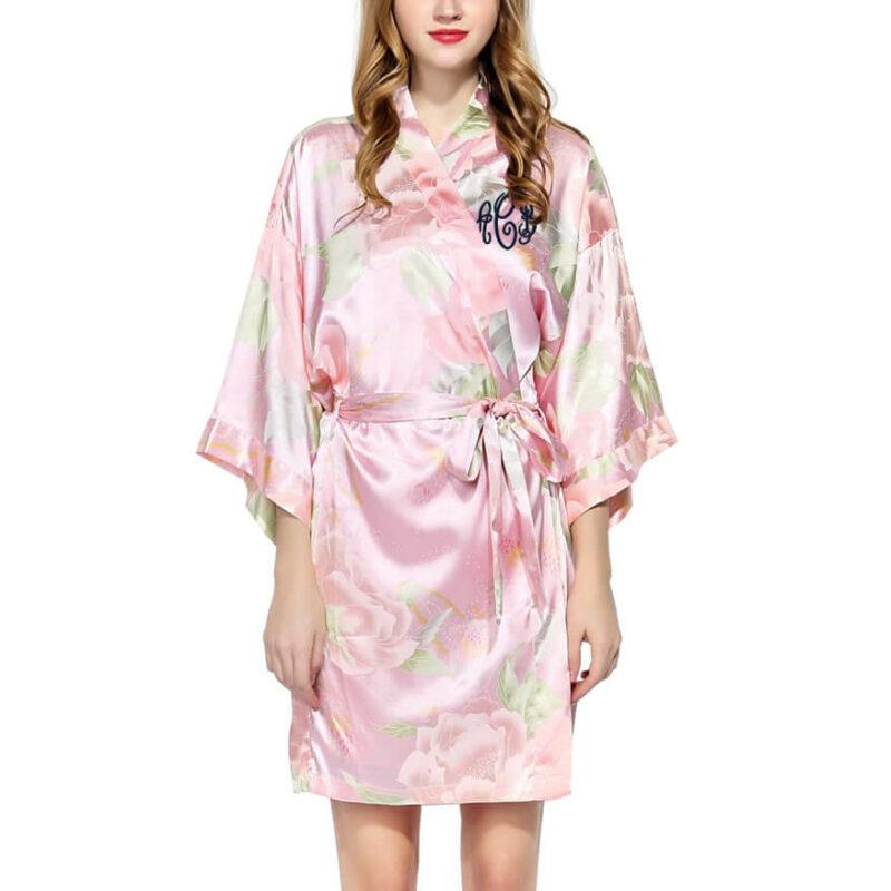 Monogrammed Pastel Floral Satin Robe