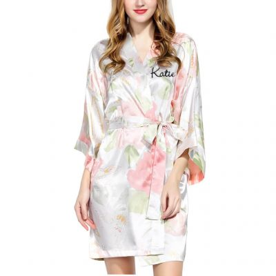Pastel Floral Satin Robe with Name