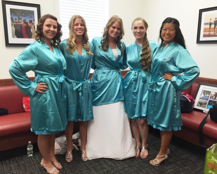 Turquoise Satin Bridal Party Robes