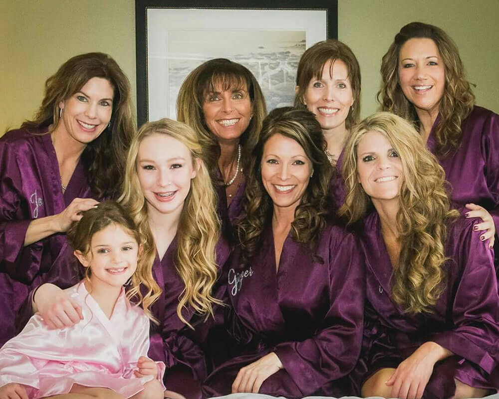 Purple Satin Bridal Party Robes