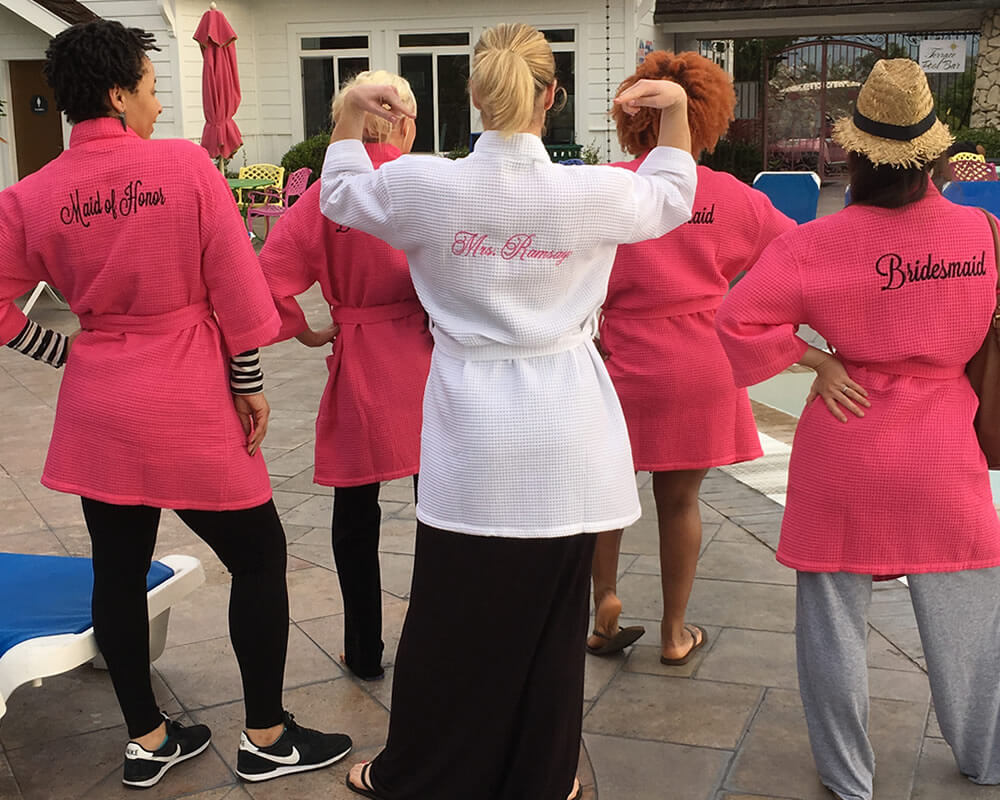 Hot Pink Waffle Bridesmaid Robes