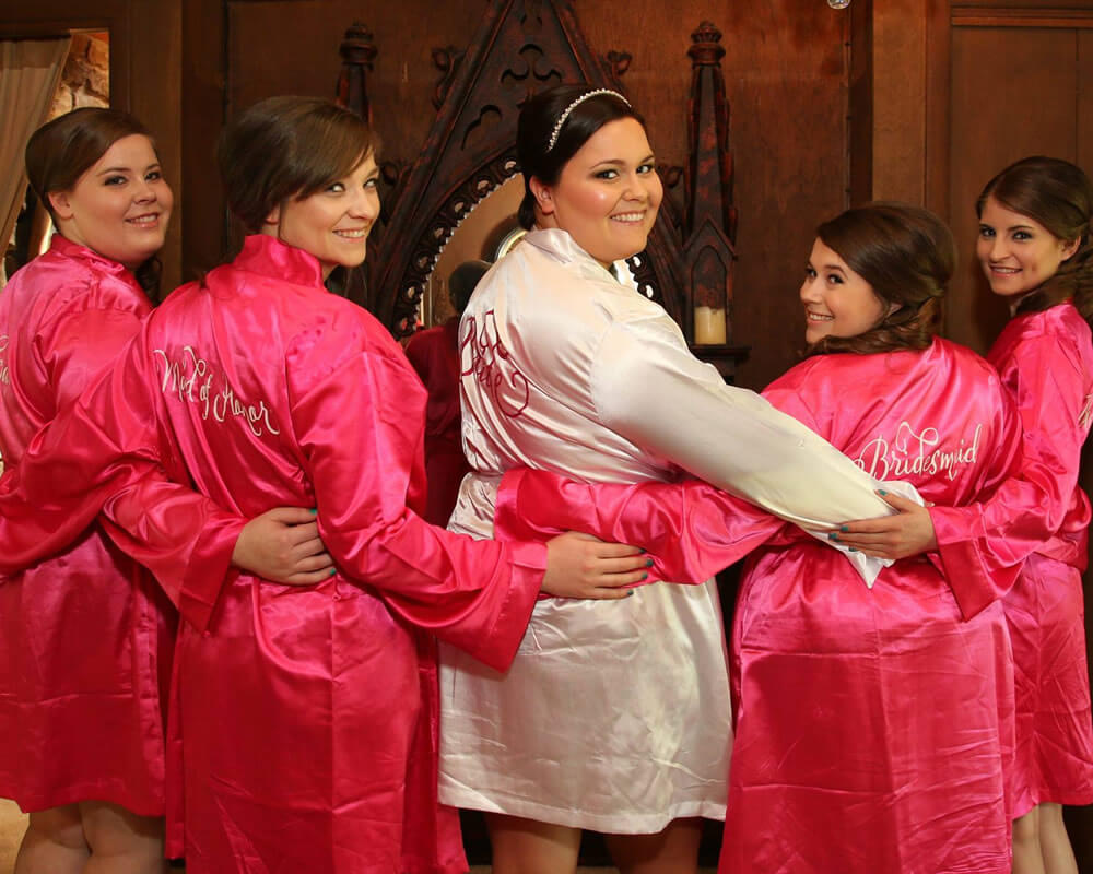 Hot Pink Satin Bridesmaid Robes