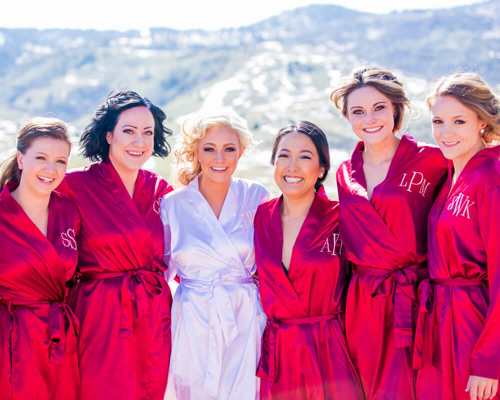 Hot Pink Satin Bridal Party Robes