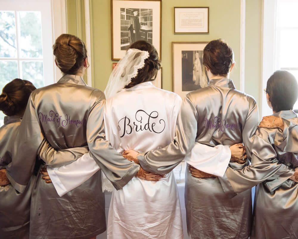 Gray Satin Bridesmaid Robes