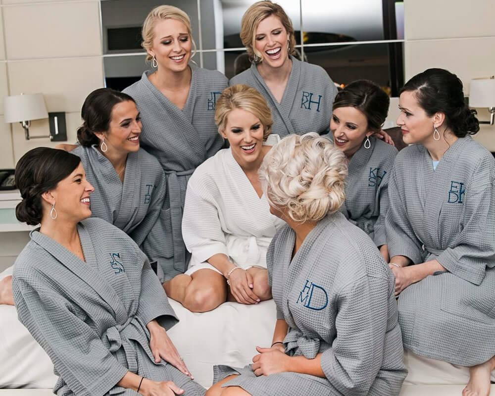 Gray Waffle Bridal Party Robes