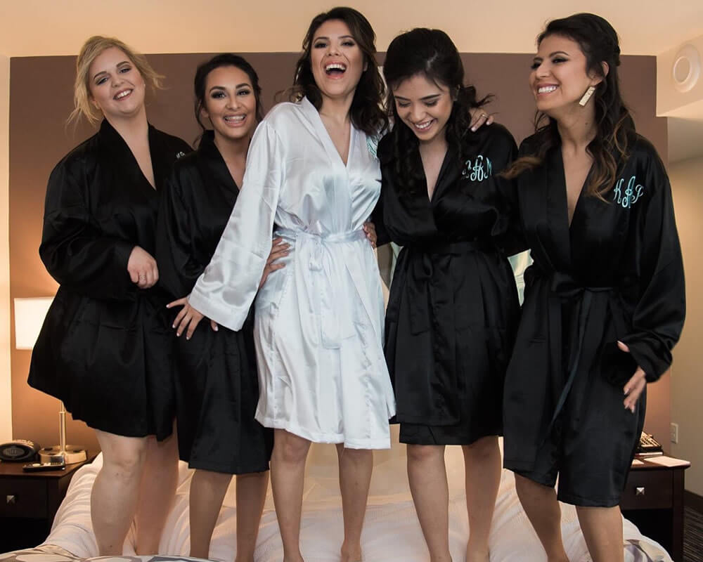 Black Satin Bridesmaid Robes