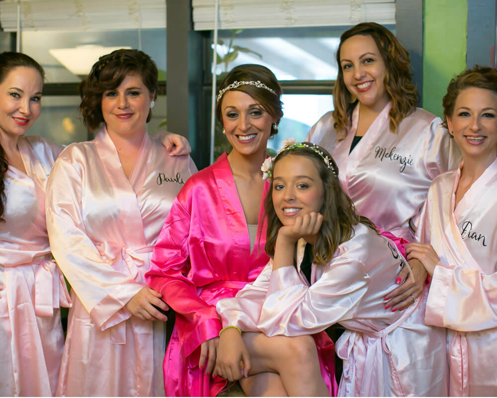 Pink Satin Bridal Party Robes