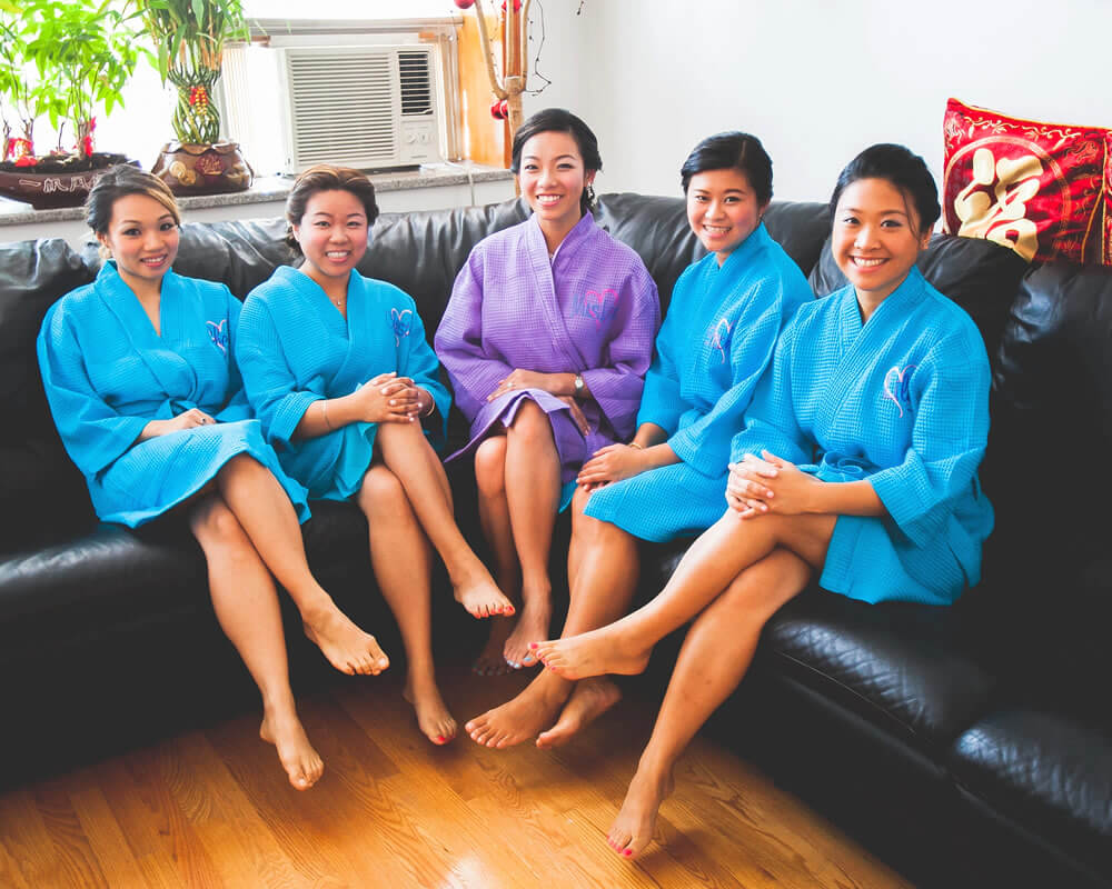 Aqua Waffle Bridal Party Robes