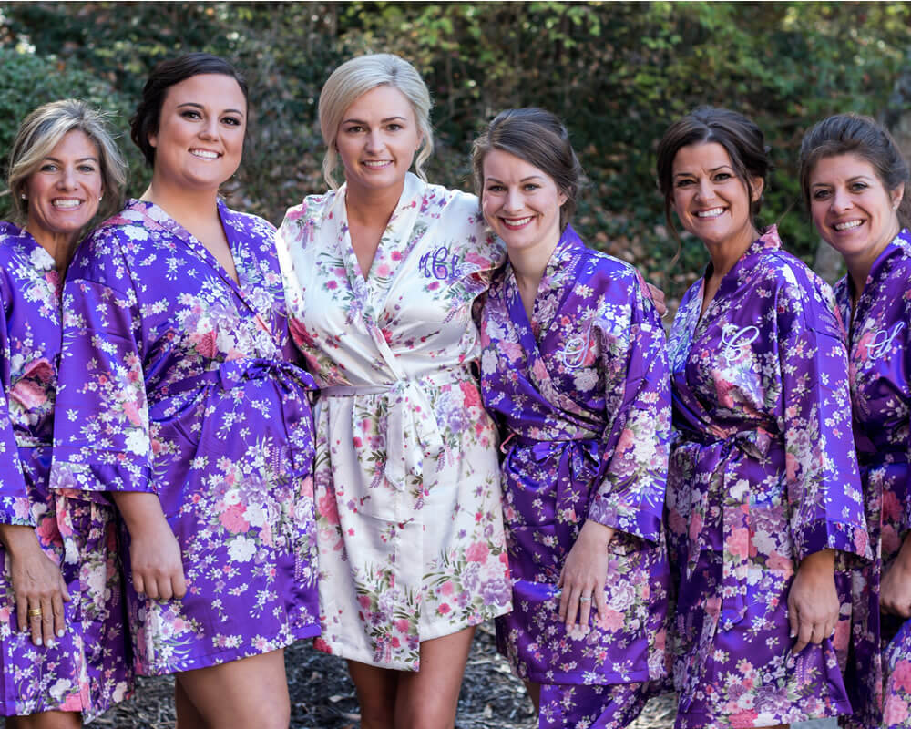 Purple Floral Bridal Party Robes