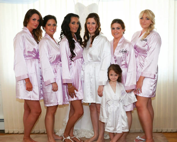 Lavender Satin Bridal Party Robes