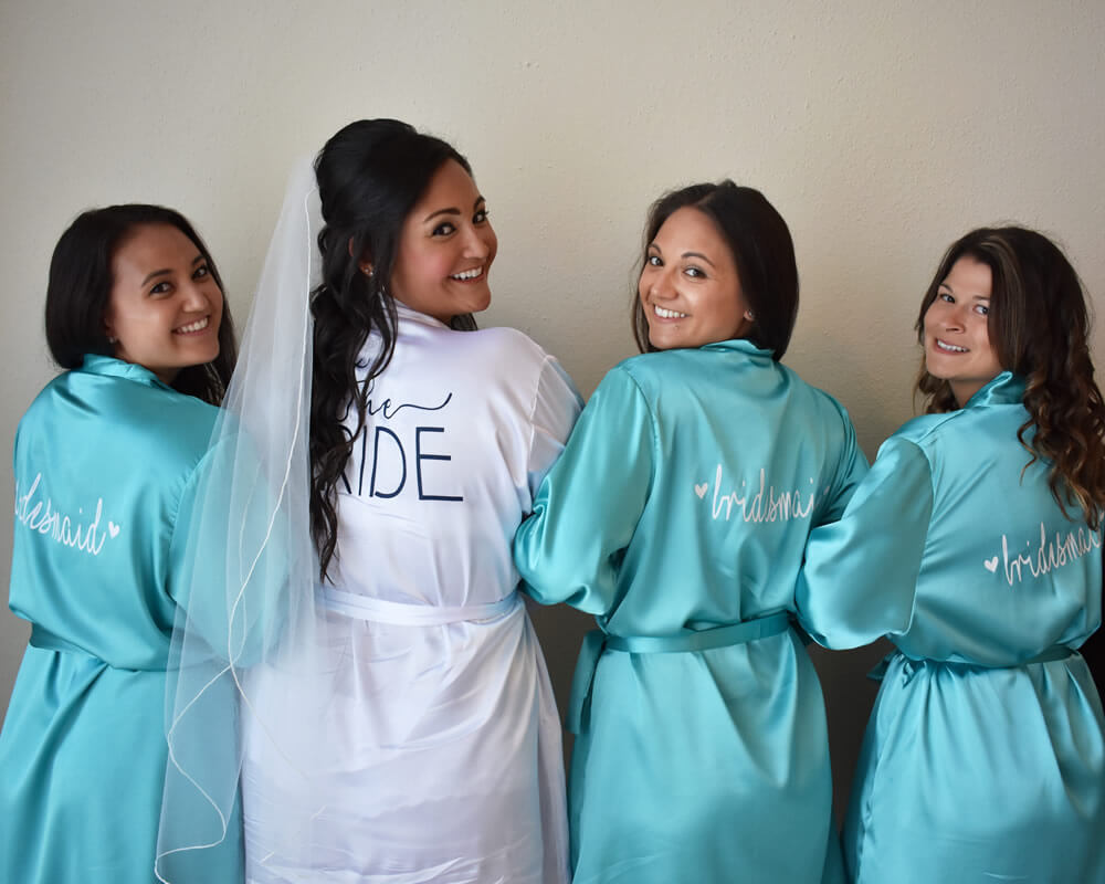 Turquoise Satin Bridesmaid Robes