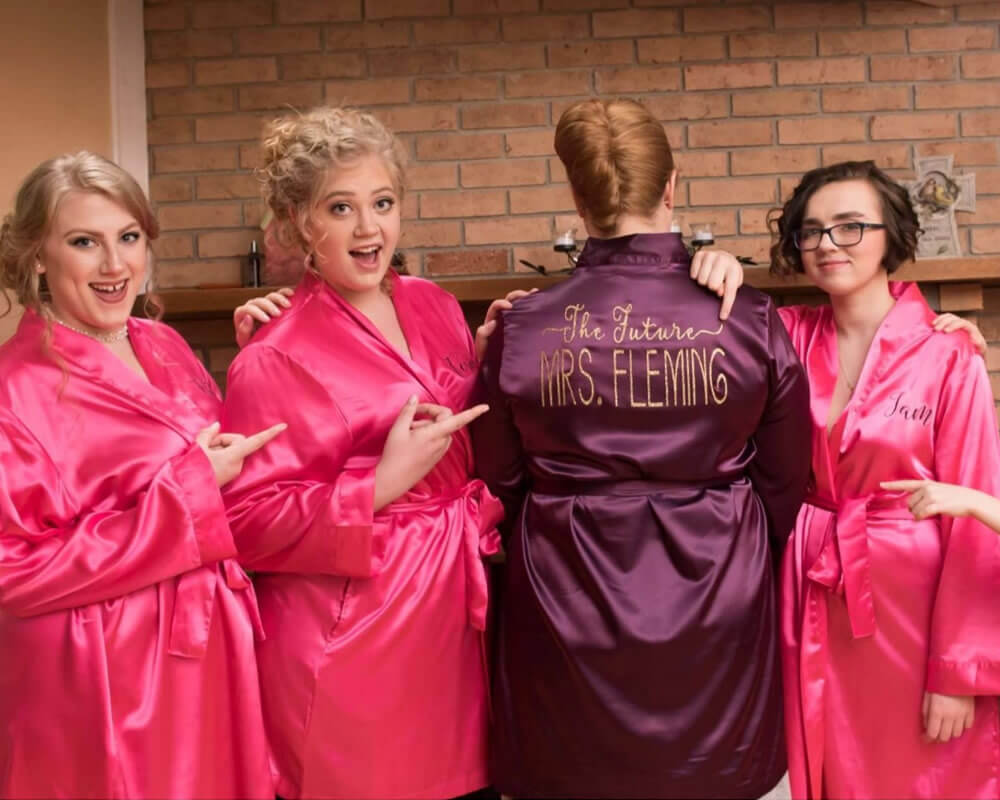 Hot Pink Satin Robes for Bridesmaids