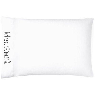 "Personalized ""Mrs."" Bride Pillow Case"