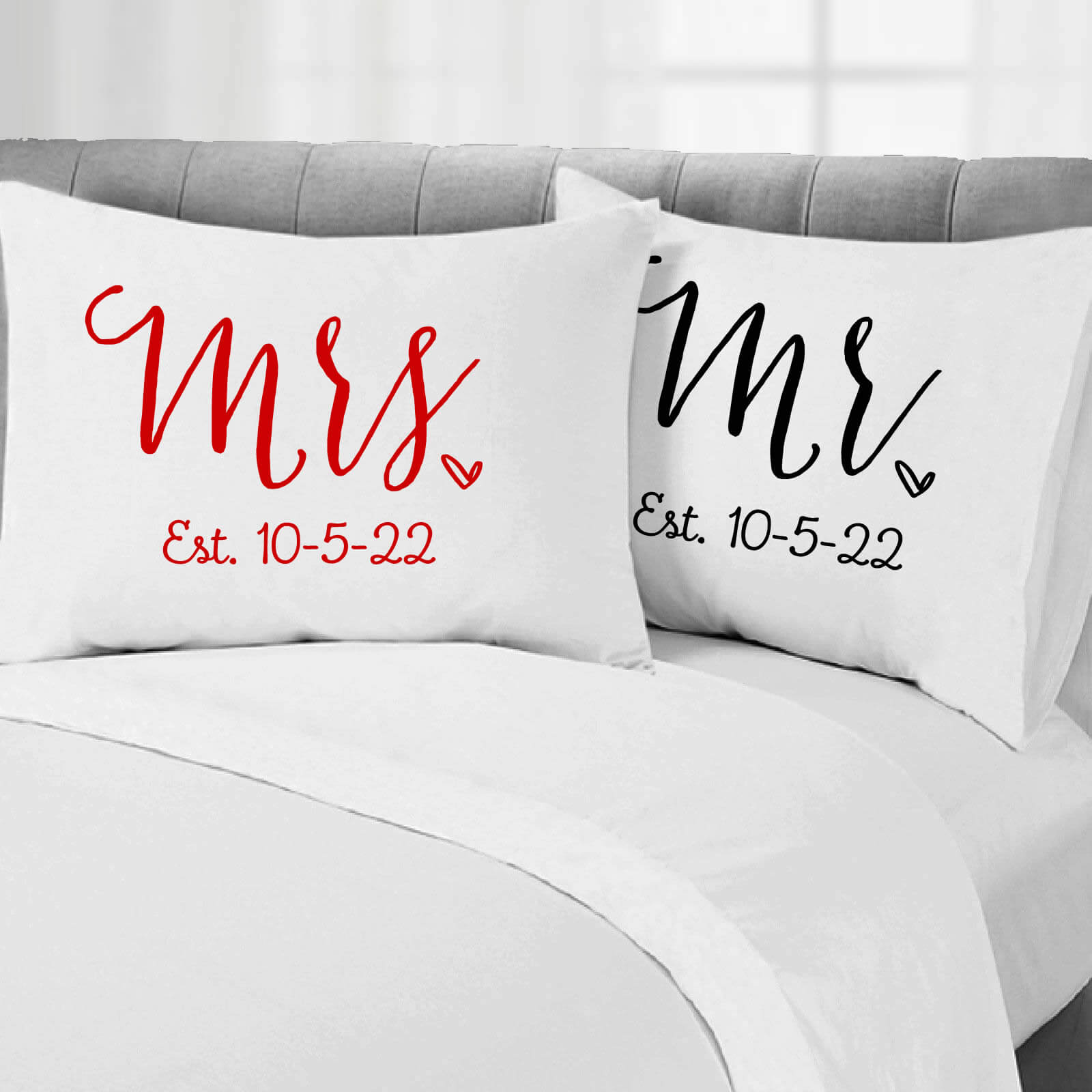 Mr Amp Mrs Pillowcase Set With Date Personalized Brides