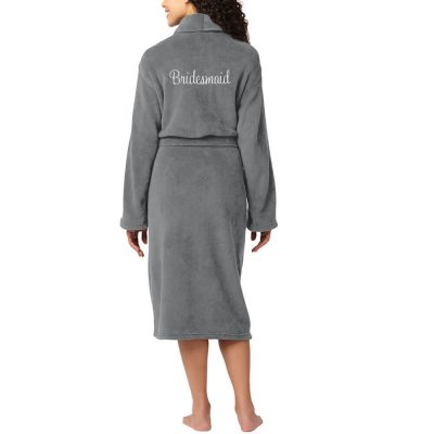 Personalized Plush Bridal Party Robe with Name & Heart - Back