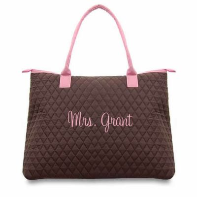 "Personalized ""Mrs."" Quilted Bride Tote Bag"