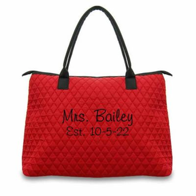 """Mrs."" Quilted Bride Tote Bag with Wedding Date"