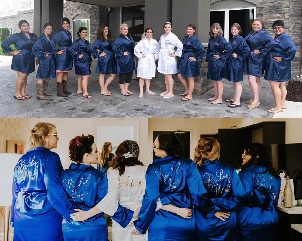 Blue Satin Bridesmaid Robes